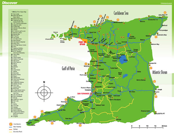 Detailed tourist map of Trinidad island. Trinidad island detailed tourist map.