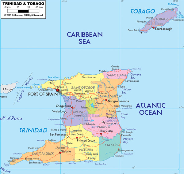 Large detailed administrative map of Trinidad and Tobago with cities and roads.