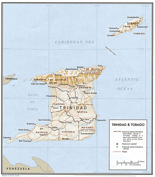Large detailed relief and administrative map of Trinidad and Tobago.
