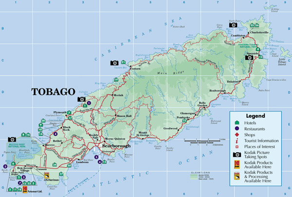 Large detailed road and tourist map of Tobago island.