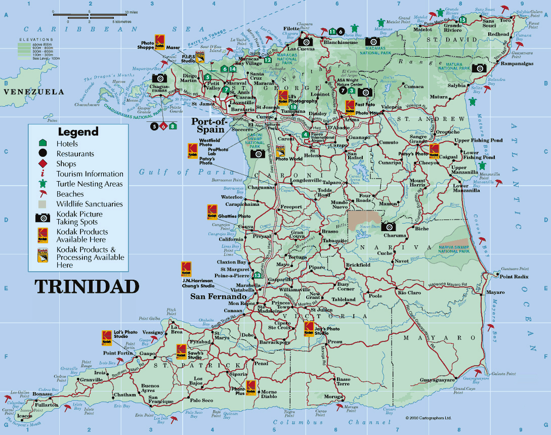 Large detailed road and tourist map of Trinidad island Trinidad