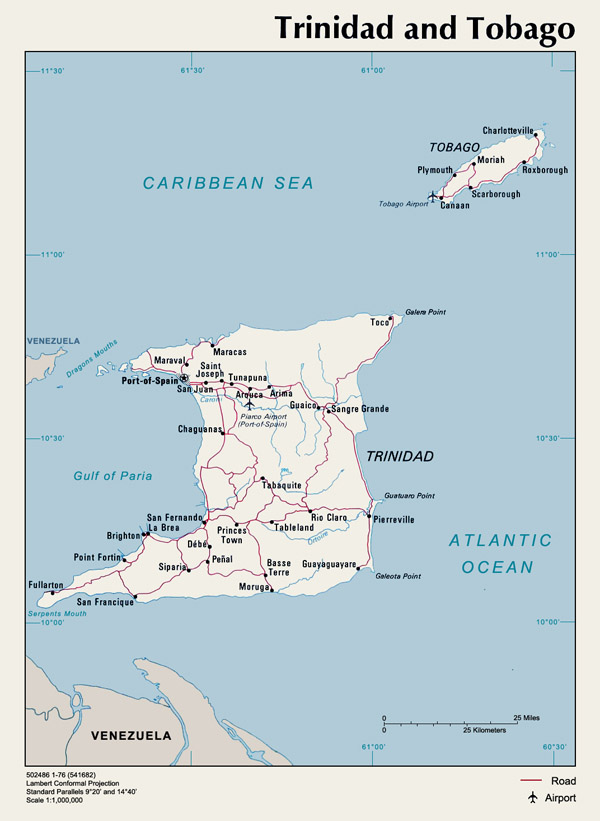 Trinidad and Tobago detailed political map with cities and roads.