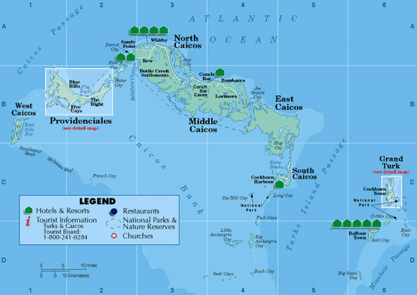 Detailed tourist map of Turks and Caicos Islands.