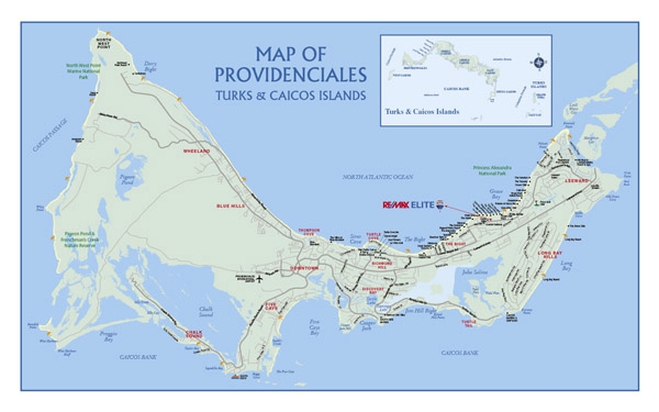 Large detailed road map of Providenciales Island, Turks and Caicos Islands.