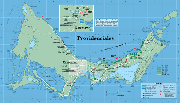 Large detailed tourist map of Providenciales Island, Turks and Caicos Islands.