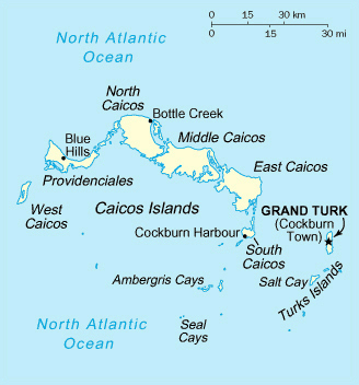 Map of Turks and Caicos Islands. Turks and Caicos Islands map.