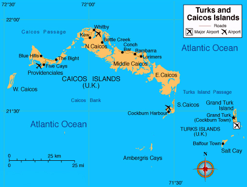 Map of Turks and Caicos Islands with cities and airports.