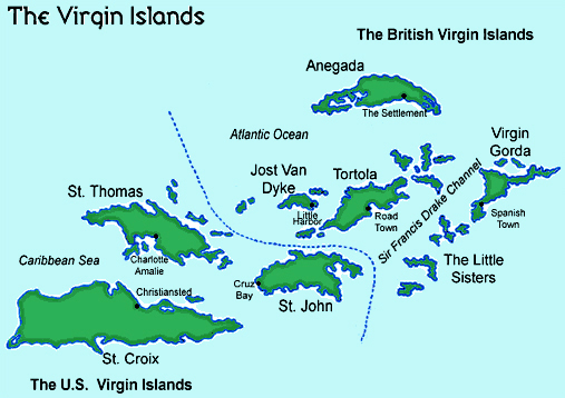 Administrative map of U.S. Virgin Islands. U.S. Virgin Islands ...