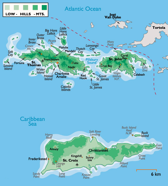 Large detailed physical map of US Virgin Islands US Virgin