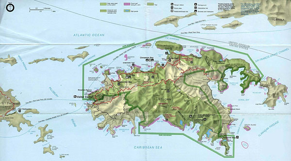 Large detailed relief and road map of St. John Island.