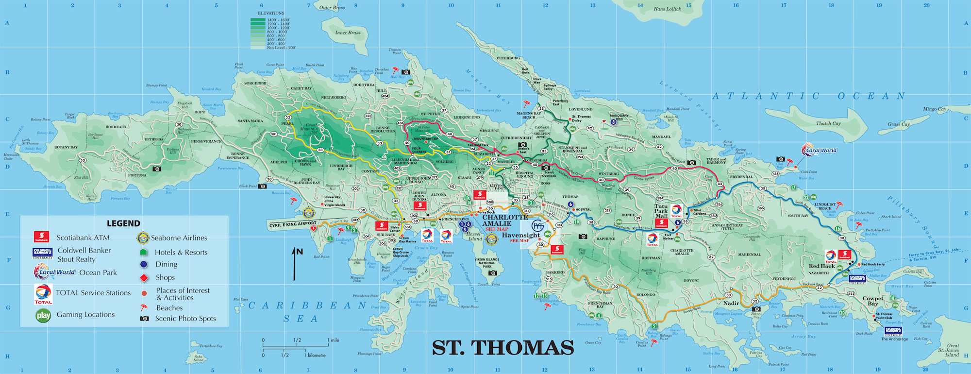 Large detailed road and tourist map of St. Thomas U.S. Virgin ...