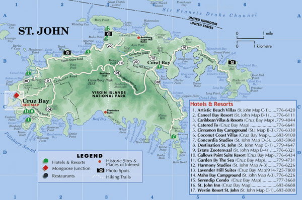 Large detailed road map of St. John Island with hotels.