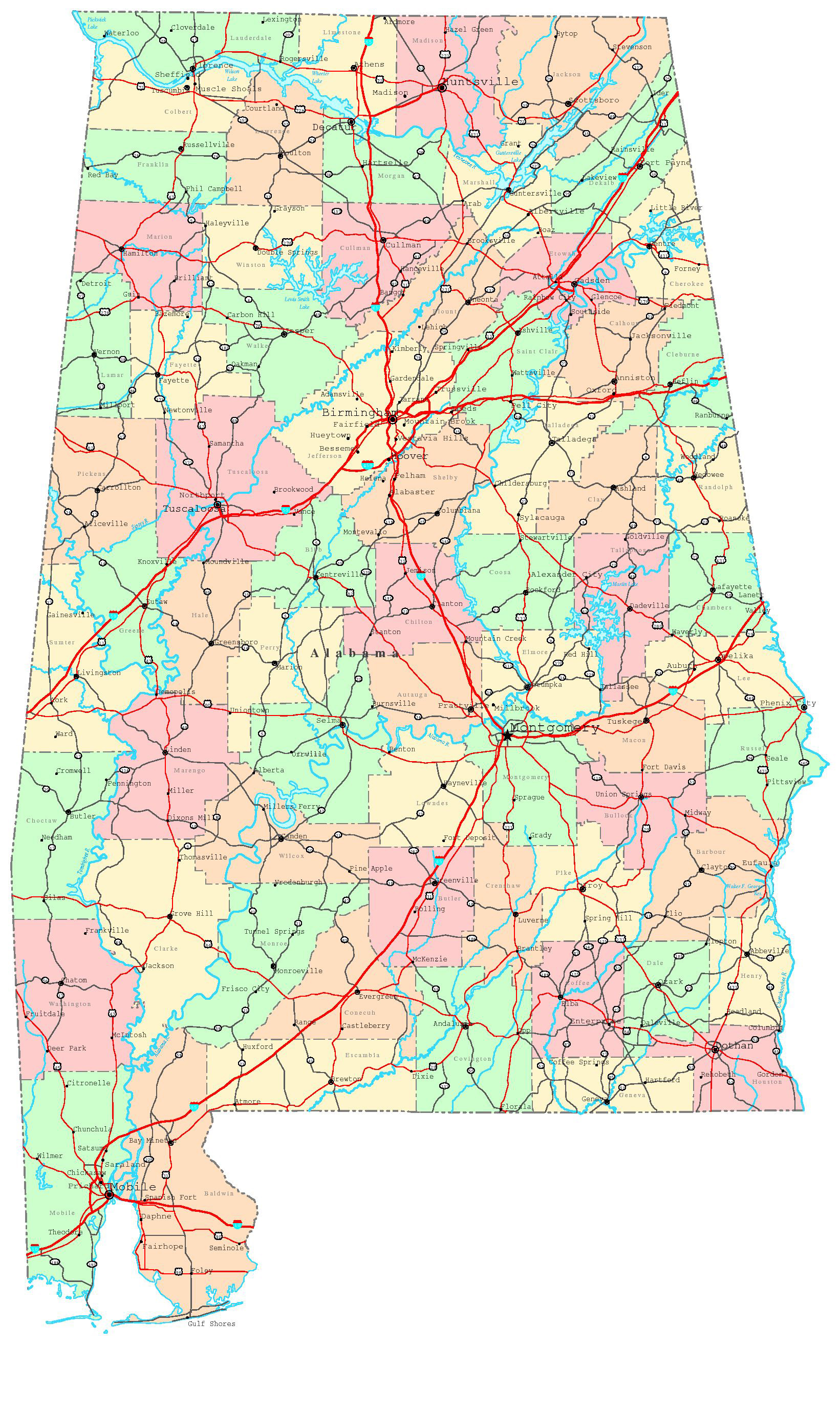 Detailed Administrative Map Of Alabama State Alabama State - Detailed map of alabama
