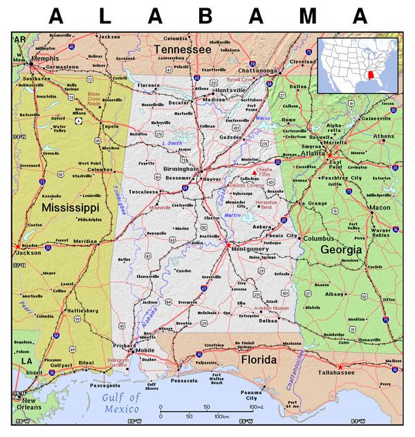 Detailed Map Of Alabama State Alabama State Detailed Map
