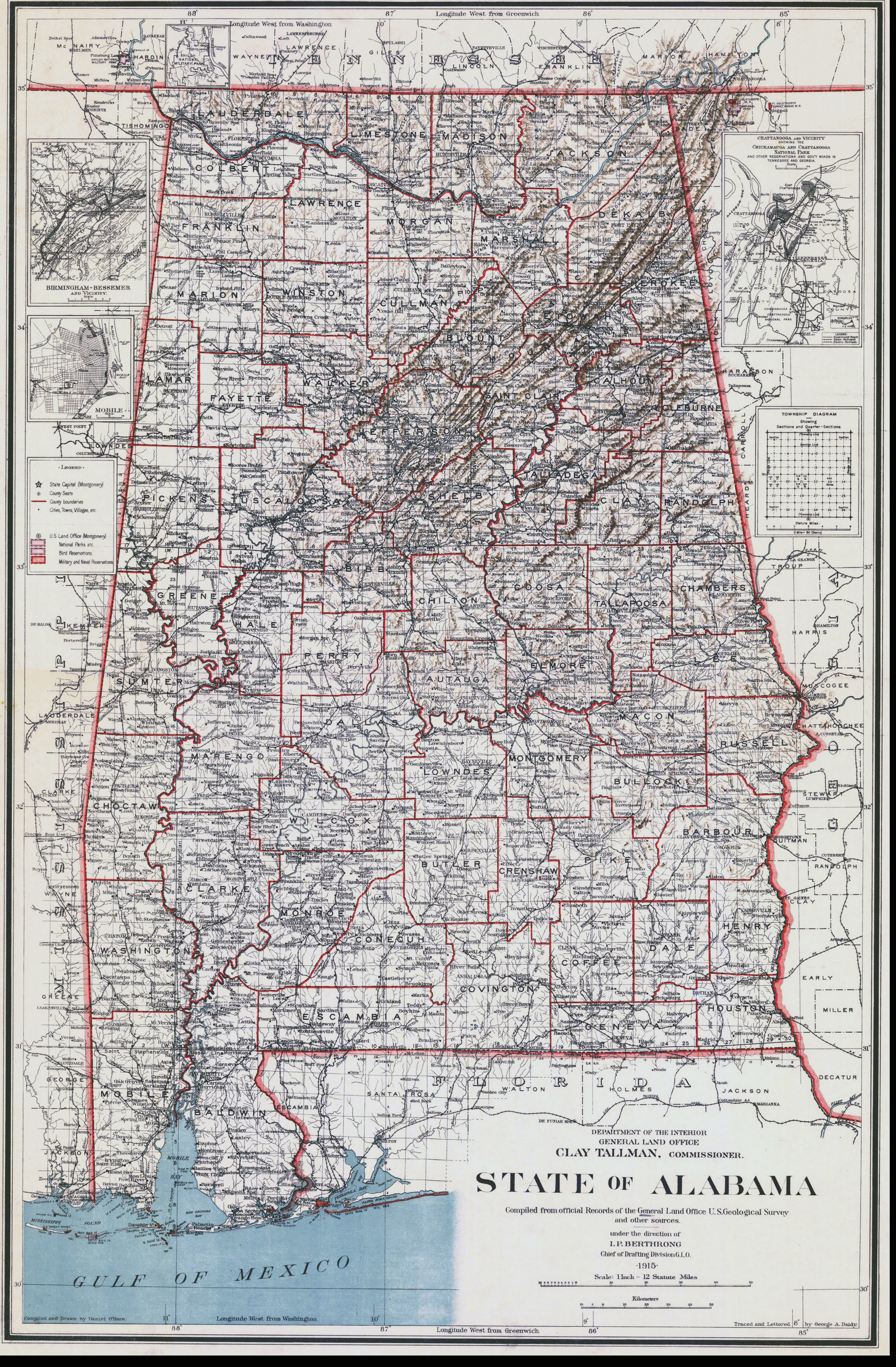Detailed Old Administrative Map Of Alabama State Vidiani - Detailed map of alabama