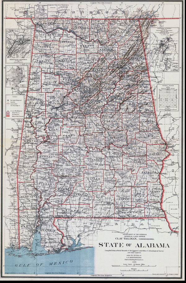 Detailed old administrative map of Alabama state - 1915.