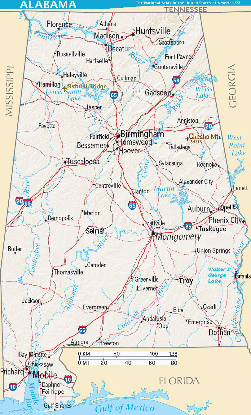 Detailed Road Map Of Alabama State With Relief And Cities - Detailed map of alabama