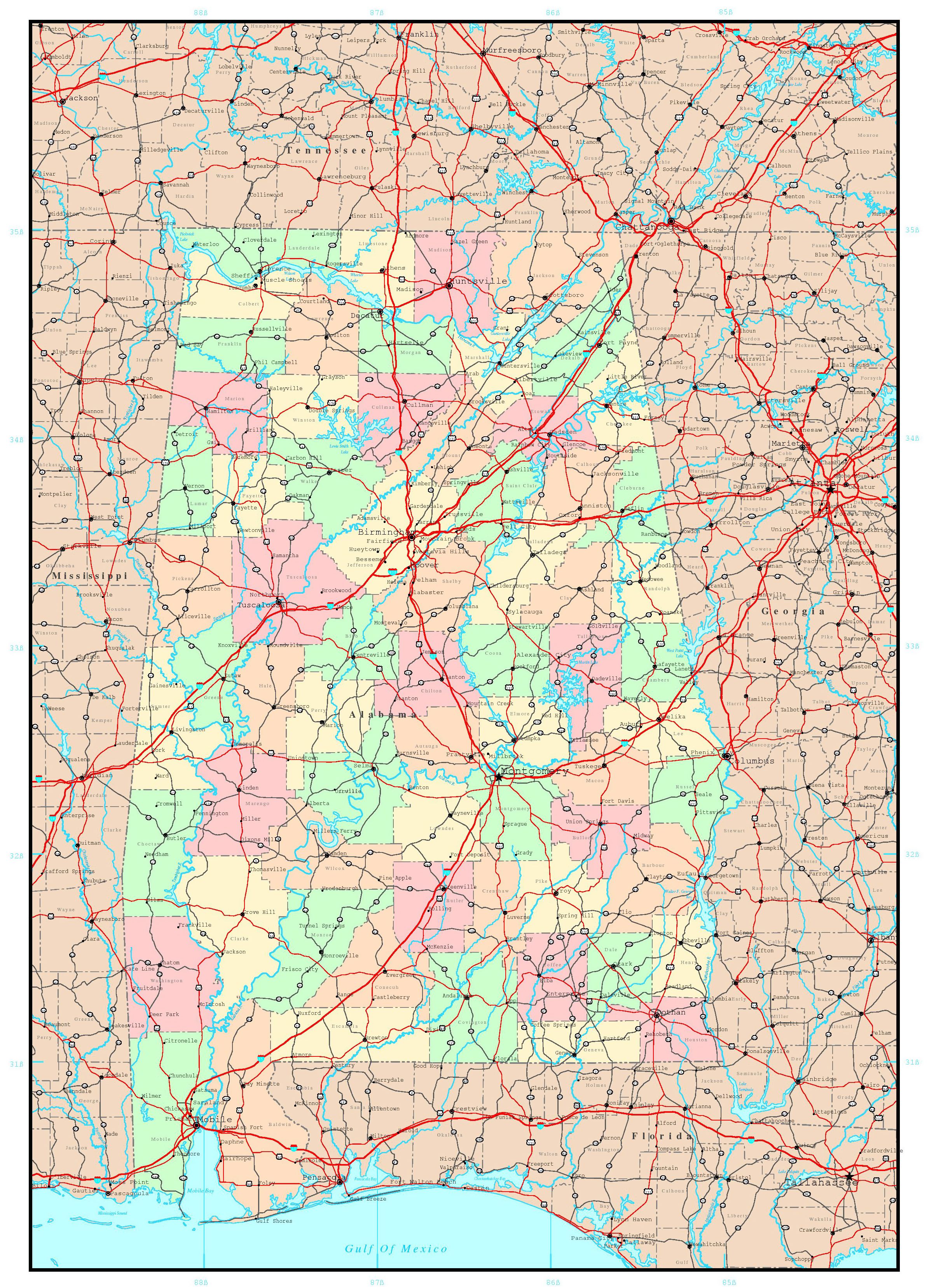 Large administrative map of Alabama state with roads and ...