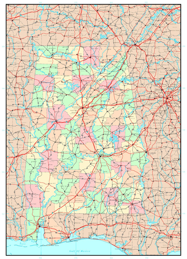 Large administrative map of Alabama state with roads and cities.