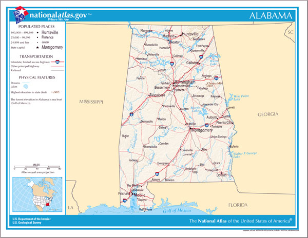 Large detailed map of Alabama state. Alabama state large detailed map.