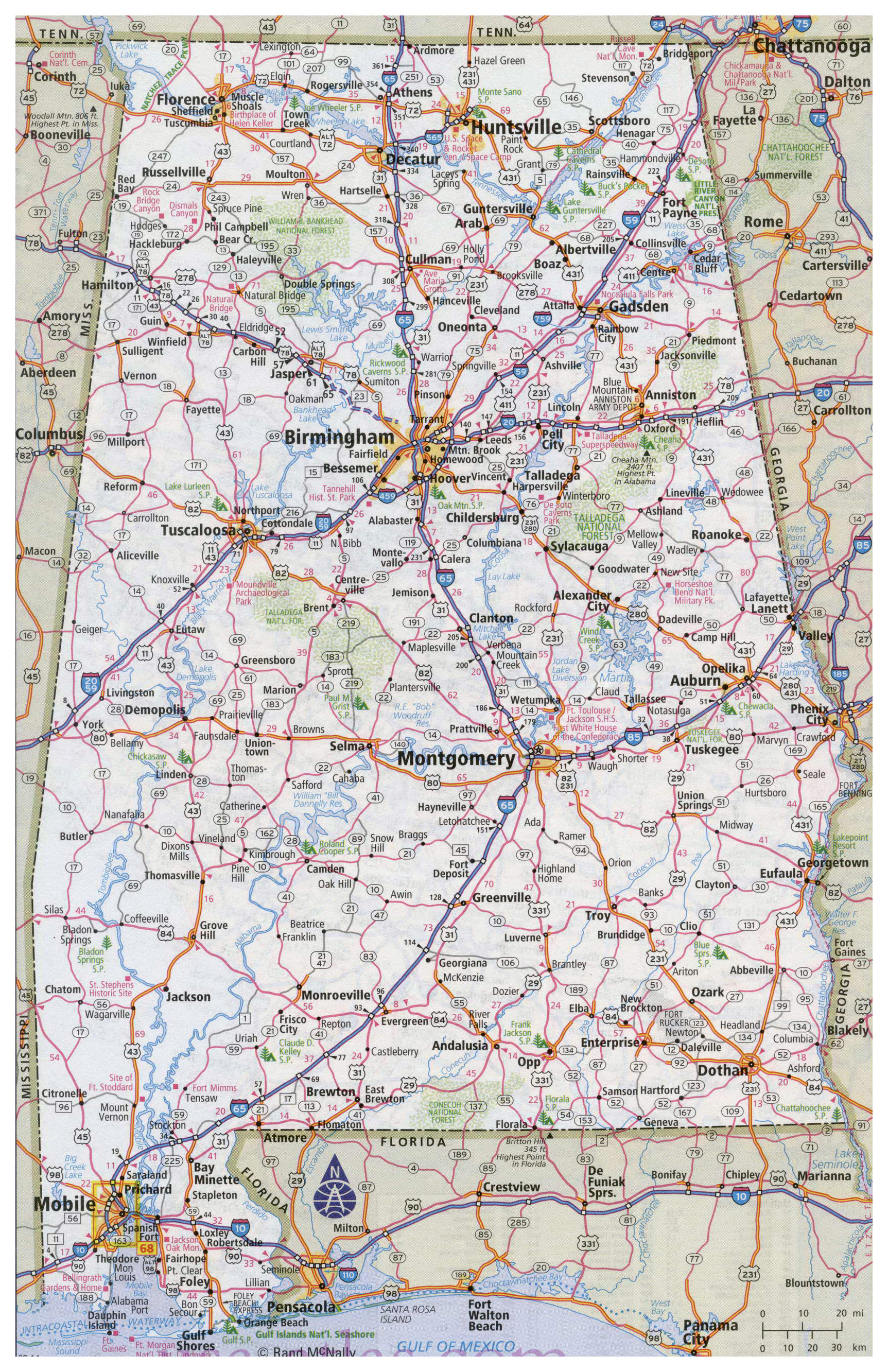 Large Detailed Road Map Of Alabama With All Cities Vidianicom - Detailed map of alabama