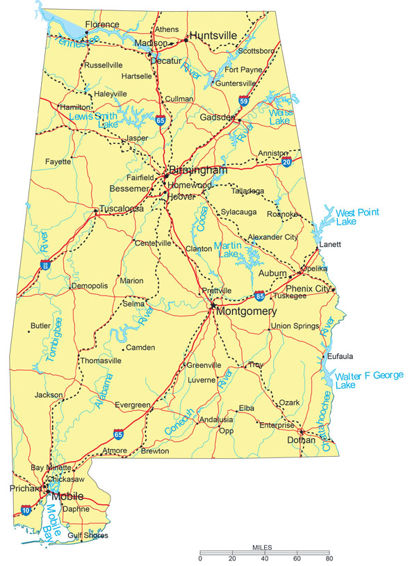 Large detailed road map of Alabama with cities.