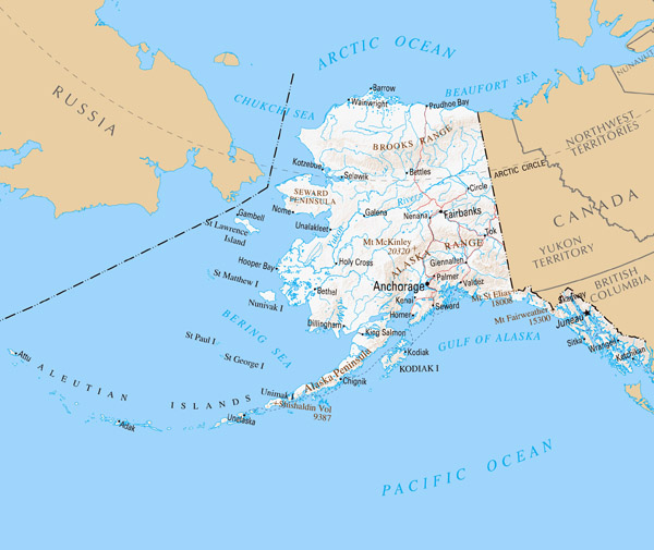 Detailed map of Alaska with relief and cities.