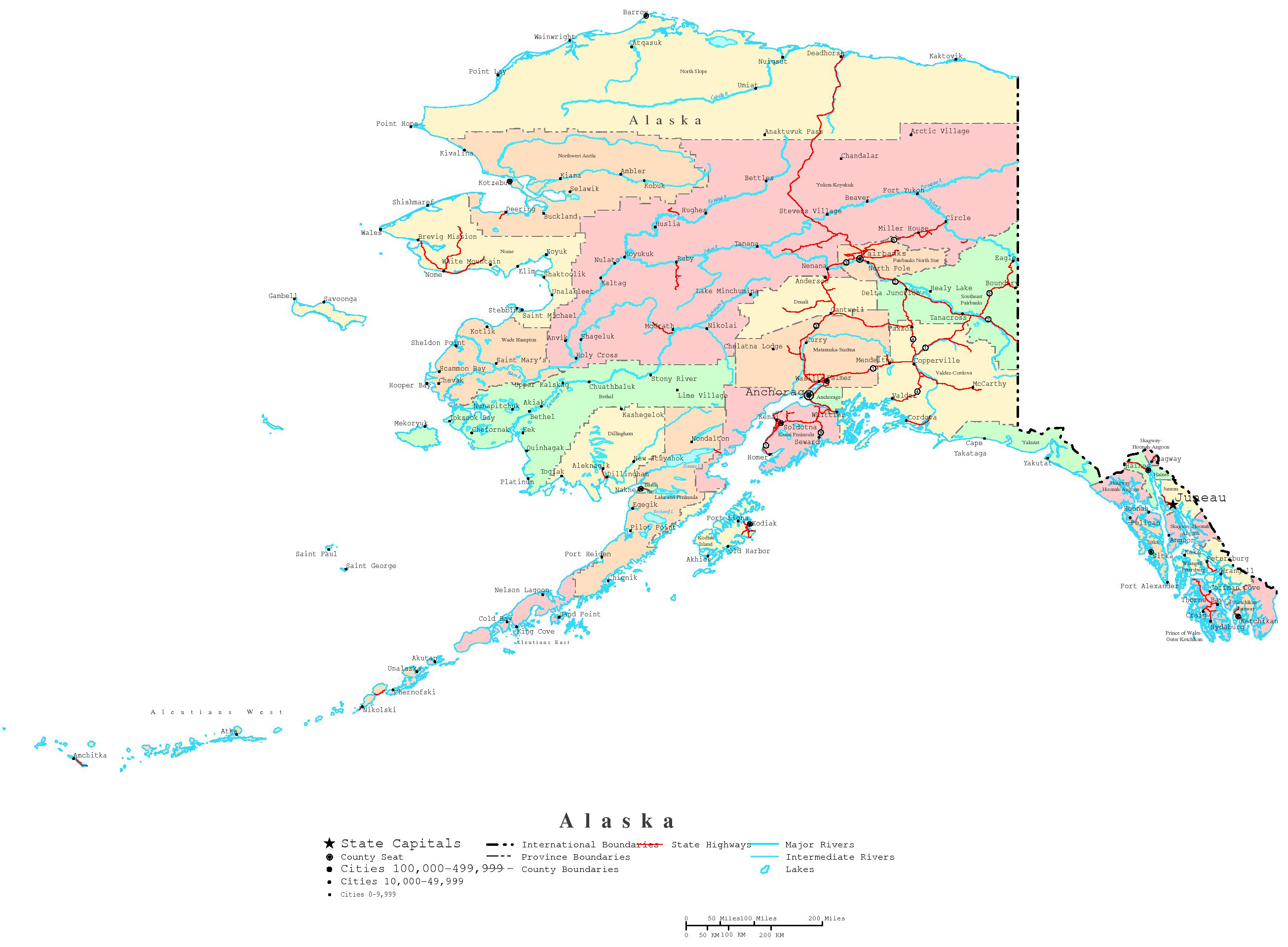 Large Administrative Map Of Alaska State With Roads And Cities