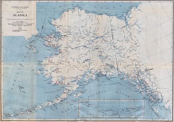 Large detailed old map of Alaska - 1917.