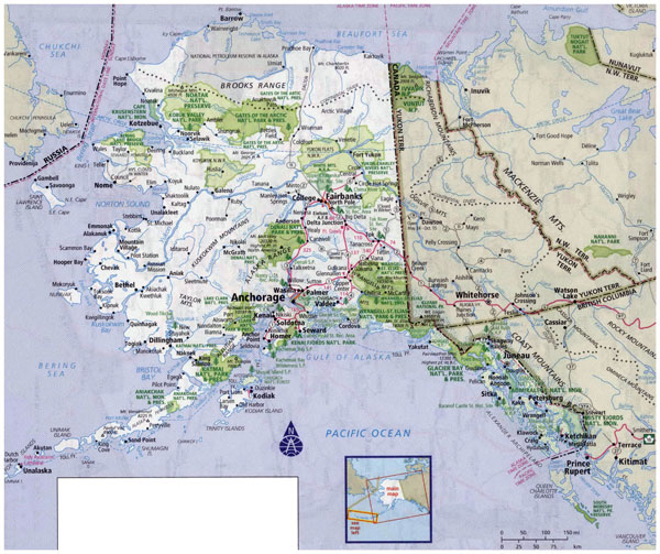 Large detailed road map of Alaska with all cities and national parks.