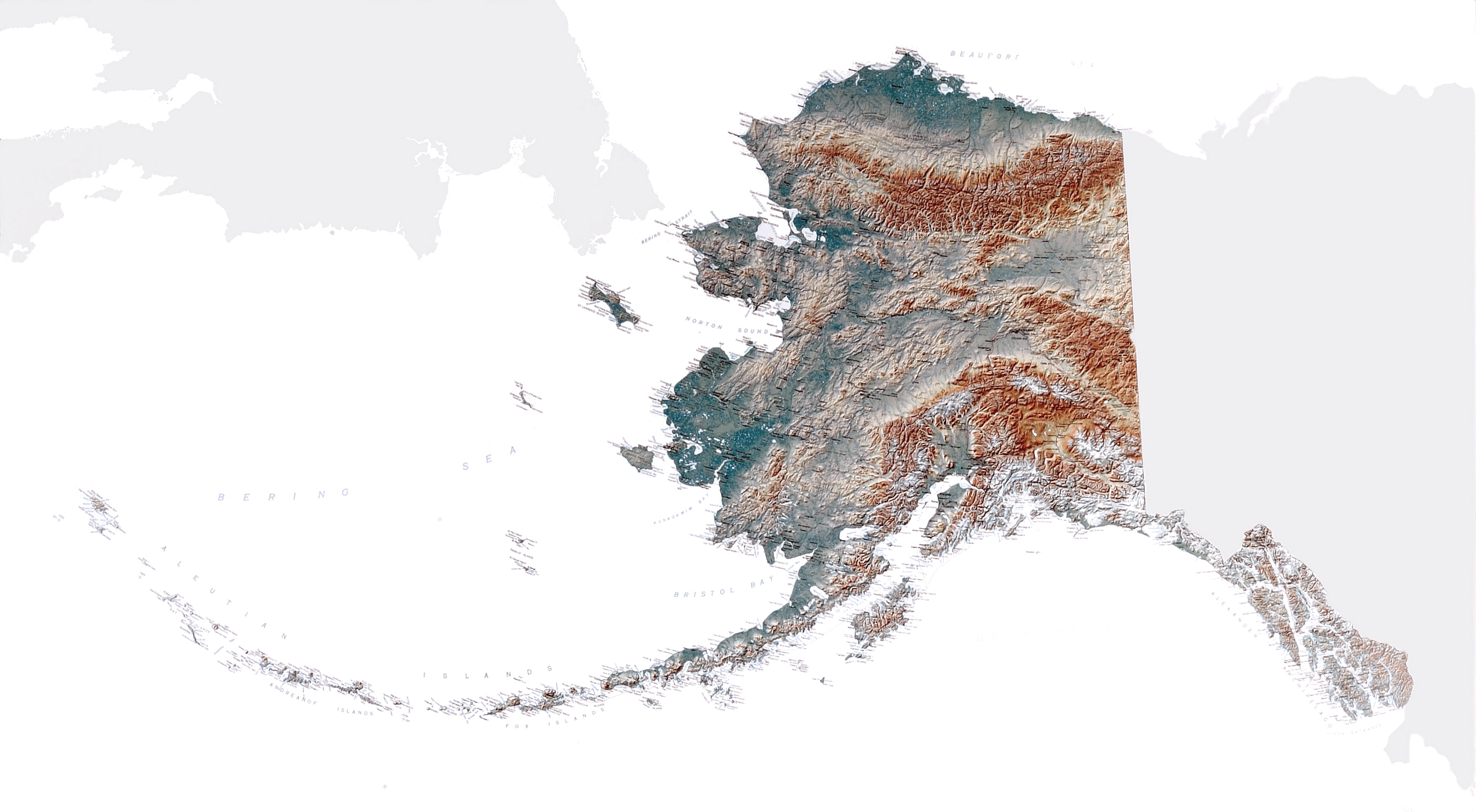 Large Detailed Topographical Map Of Alaska State Alaska