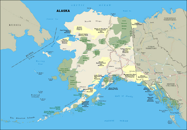 Large national parks map of Alaska state.