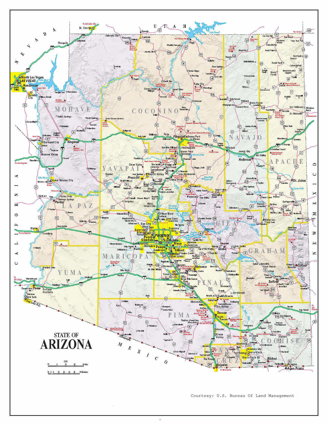 Map Of East Arizona.Administrative Map Of Arizona Arizona Administrative Map