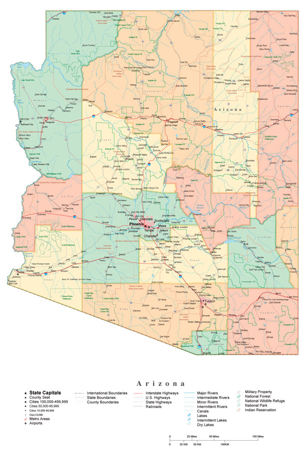 Administrative map of Arizona state.