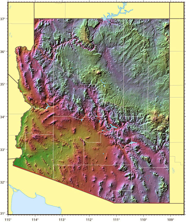 Arizona state relief map. Relief map of Arizona state.