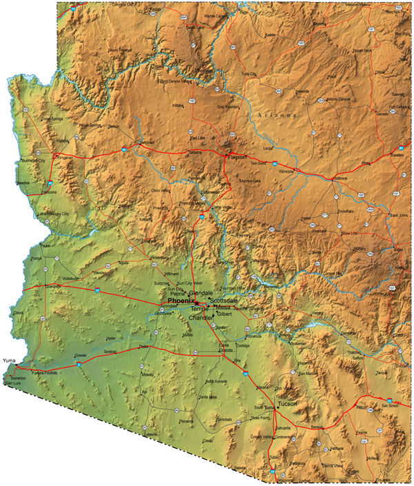 Detailed elevation map of Arizona with cities.