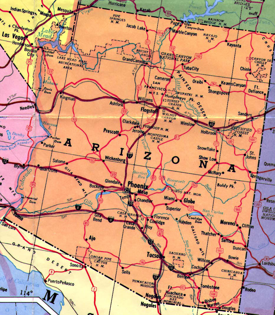 Map Of State Of Arizona.Highways Map Of Arizona State Arizona State Highways Map Vidiani