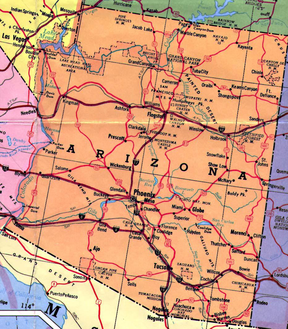 Highways Map Of Arizona State Arizona State Highways Map - State of arizona map