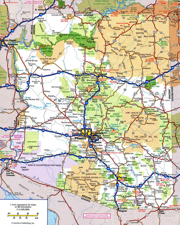 Large detailed highways map of Arizona state with all cities and national parks.