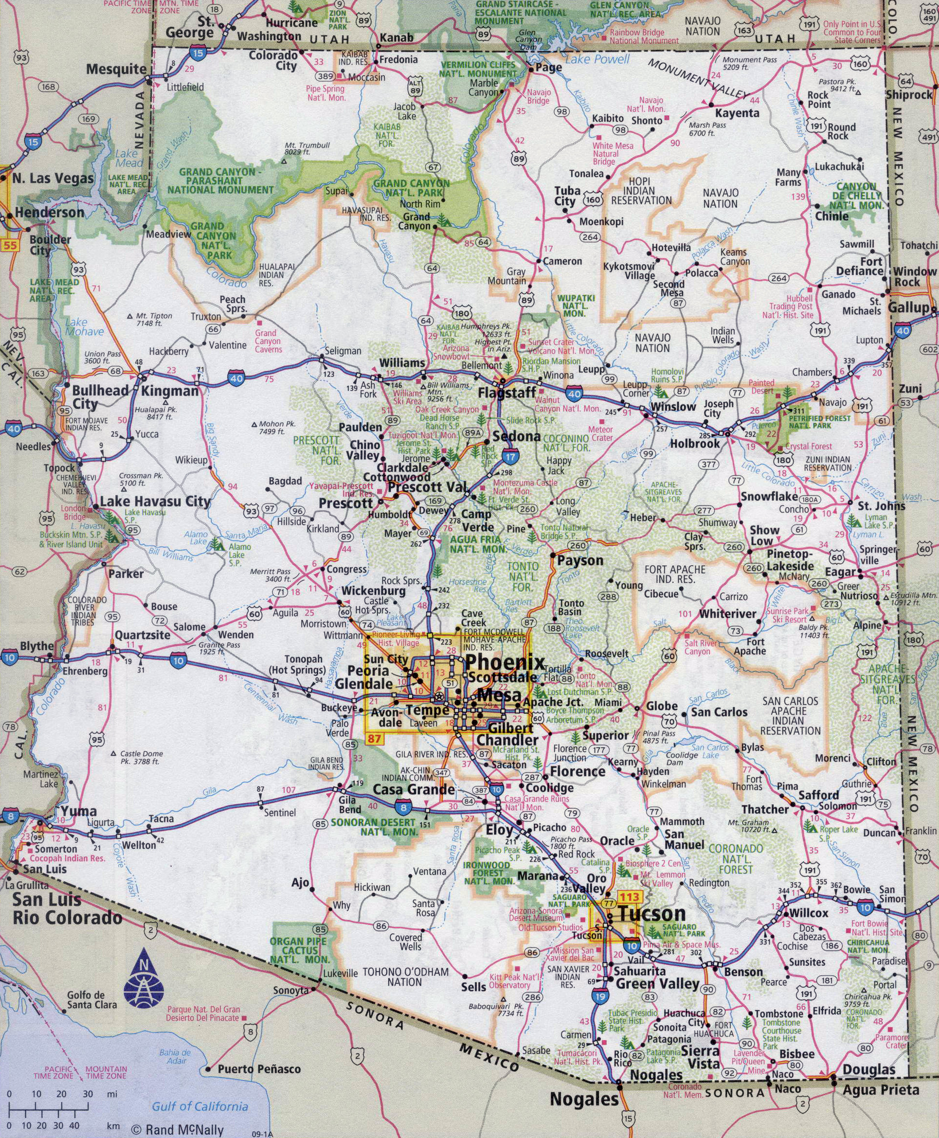 Large Detailed Road Map Of Arizona State With All Cities Vidiani - Detailed usa map with states and cities