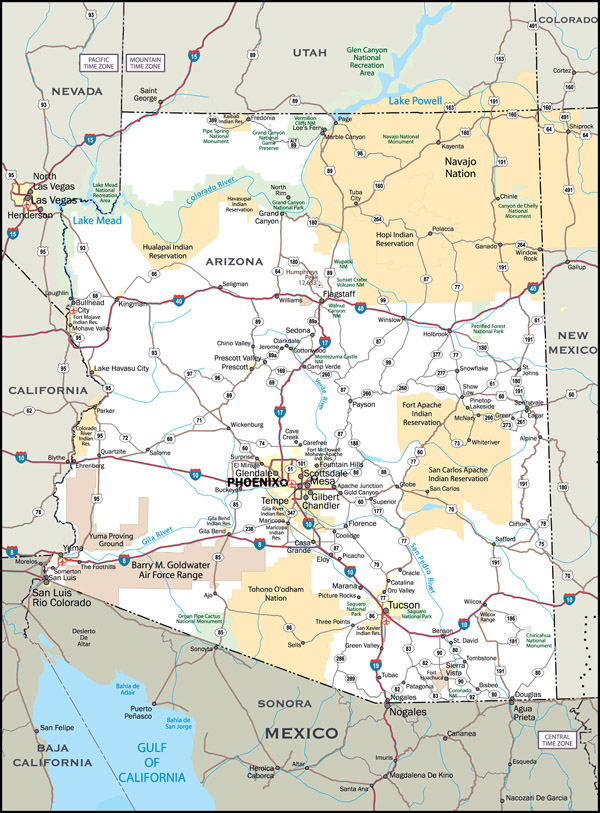 Large detailed roads and highways map of Arizona state with all cities.