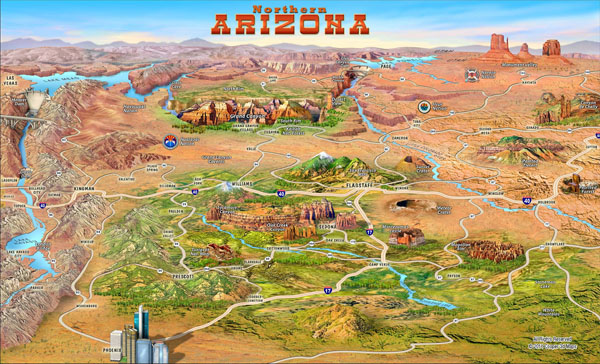 Large detailed tourist attractions panoramic map of Northern Arizona state.