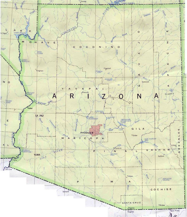 Map of Arizona. Arizona map.