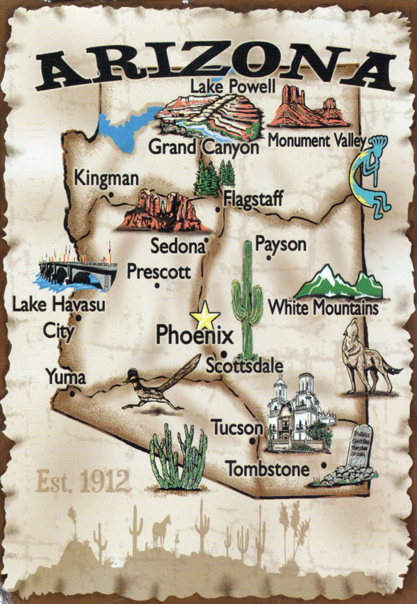 Travel illustrated map of Arizona. Arizona travel illustrated map.