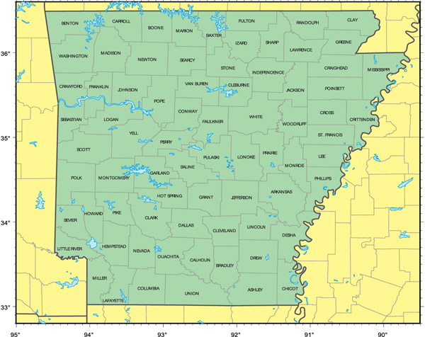 Administrative map of Arkansas state.