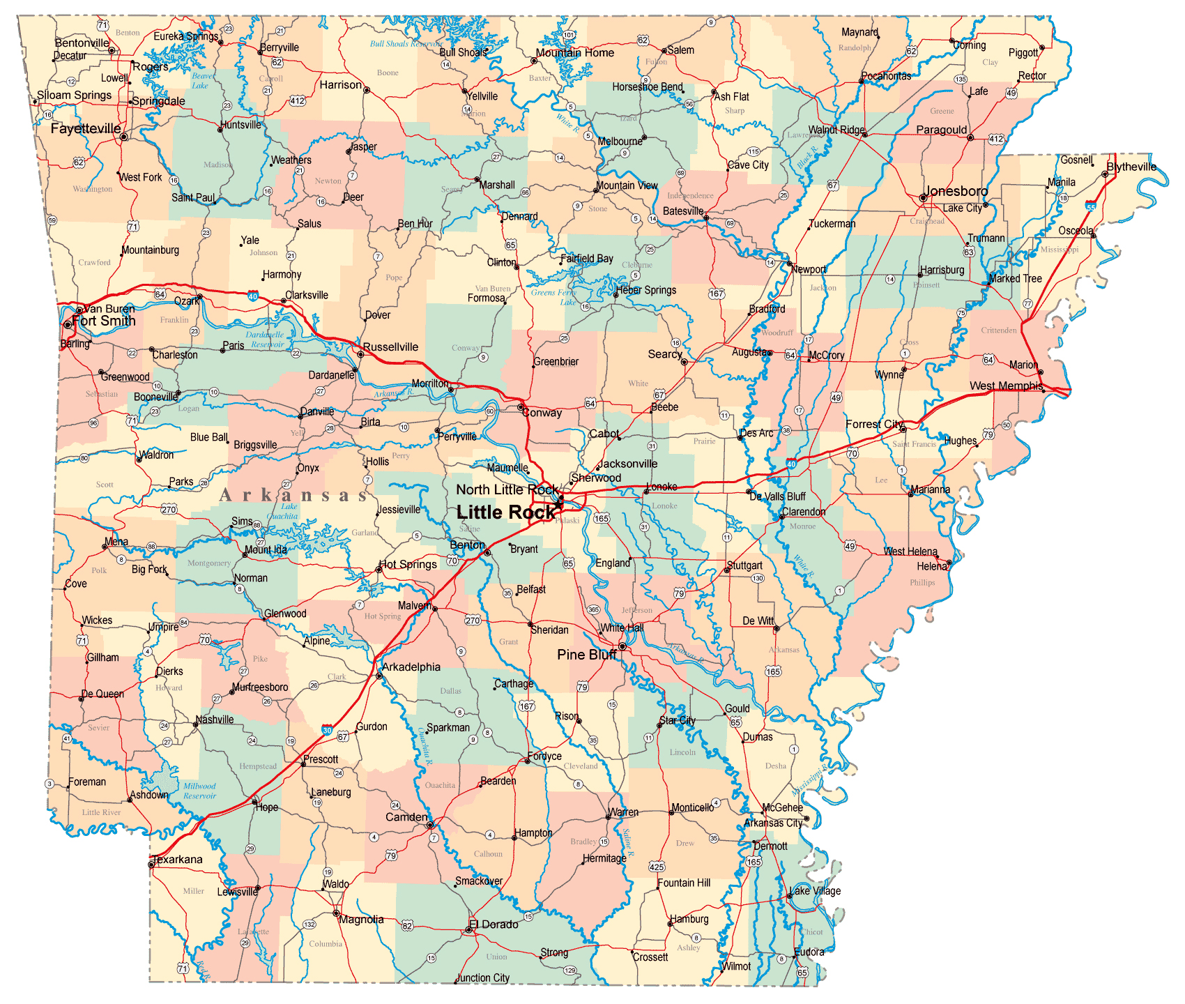 Detailed Administrative And Road Map Of Arkansas With Cities - Arkansas relief map