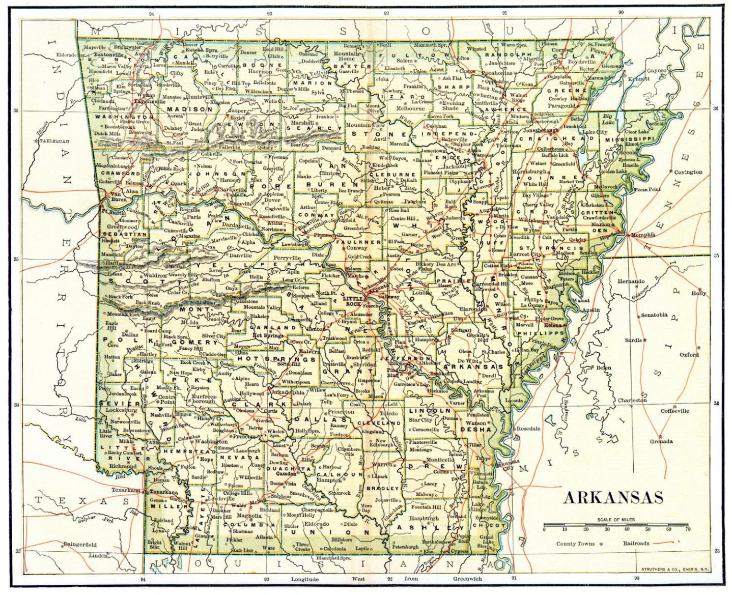 Detailed Old Administrative Map Of Arkansas State Vidiani - Arkansas highway map