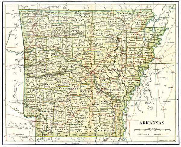 Detailed old administrative map of Arkansas state - 1892.
