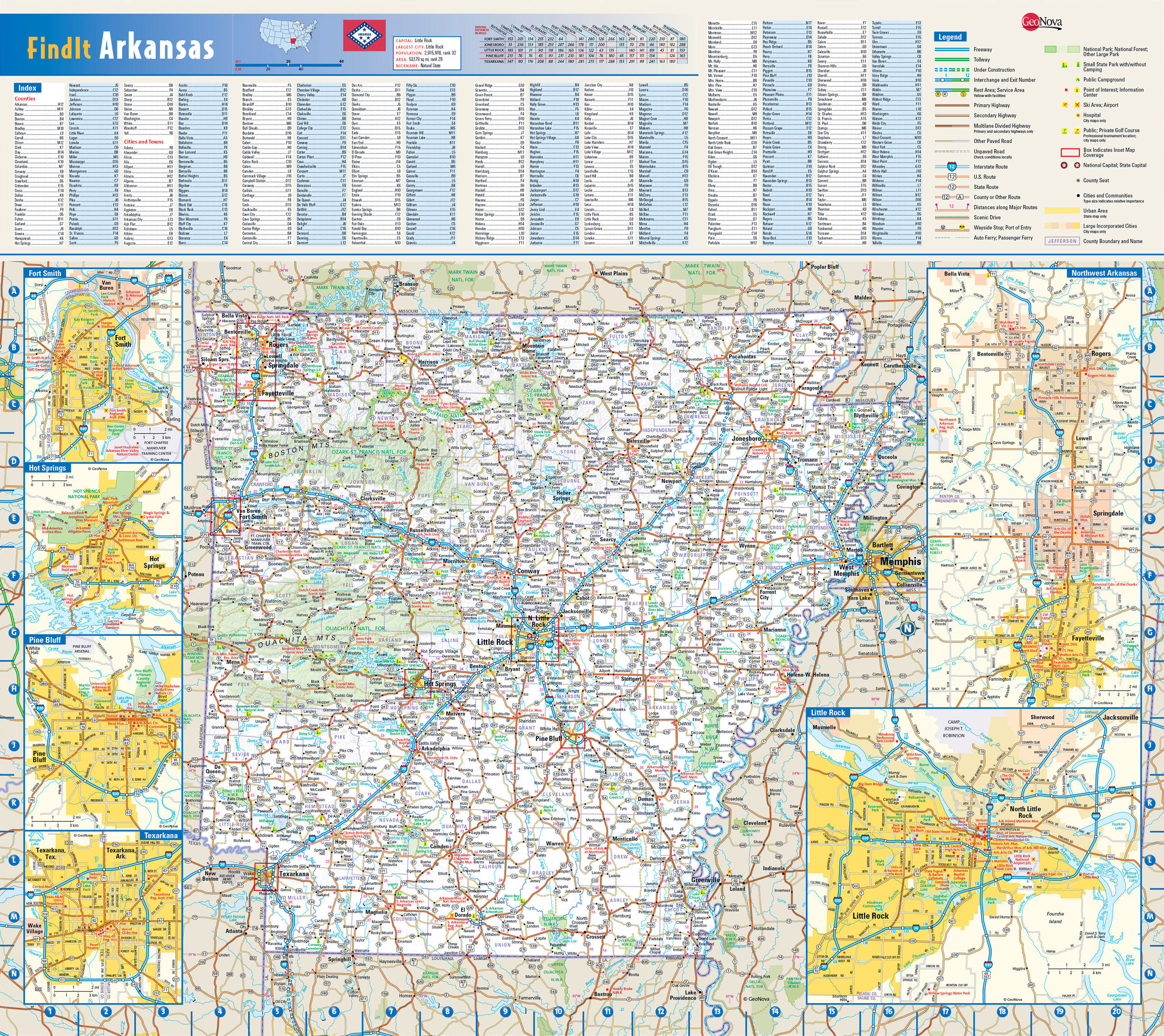 Detailed roads and highways map of Arkansas state. Arkansas state ...