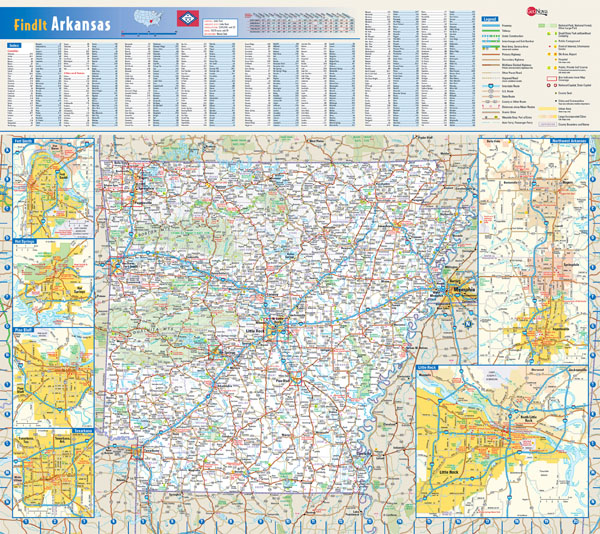 Detailed roads and highways map of Arkansas state.